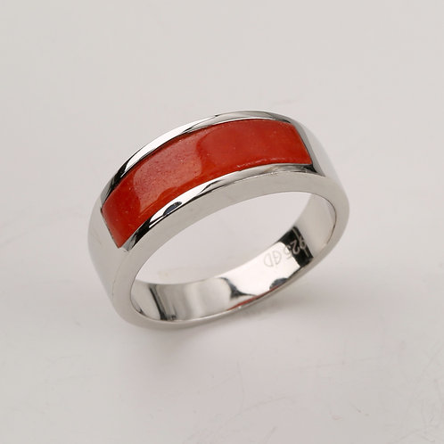 RED JADE BAND RING