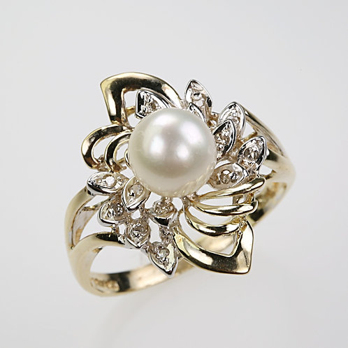 CULTURED PEARL RING 9
