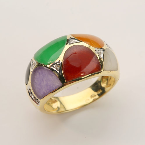 MULTI-COLOR JADE RING