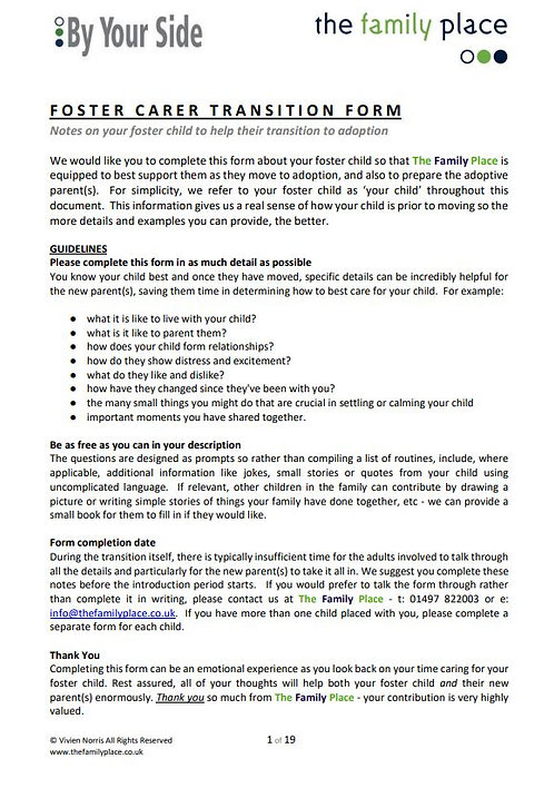 By Your Side Foster Carer Transition Form - Organisations