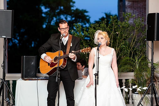 Angela and Dave performing at their wedd