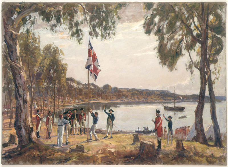 """The Founding of Australia. By Capt. Arthur Phillip R.N. Sydney Cove, Jan. 26th 1788"" / Original [oil] sketch [1937] by Algernon Talmage R.A."