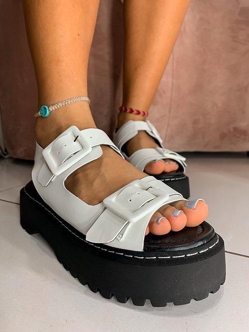 Sandália Flat Mona Branco - 1063