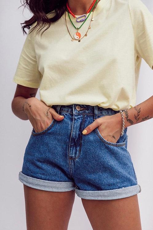 Shorts Jeans Mom Vintage Lav. Escura
