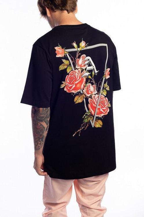 Camiseta Long Flores Black 118