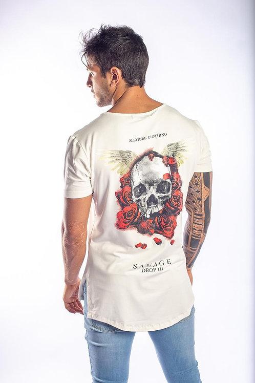 Camiseta Long Caveira Rosas 164