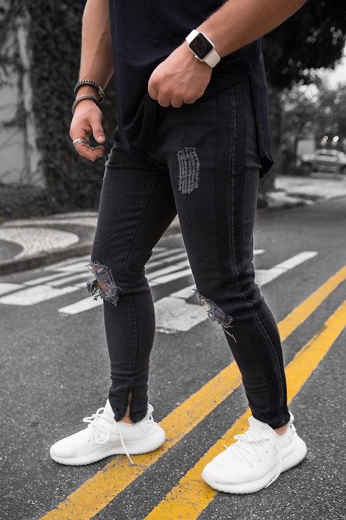 Calça Jeans Preta Destroyed Com faixa Lateral 555