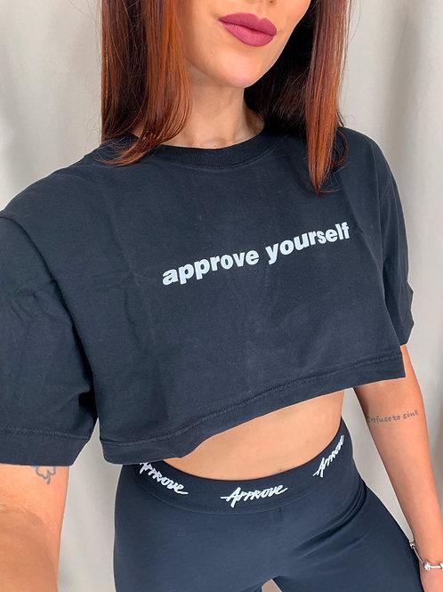 Cropped Approve Yourself Preto/Branco