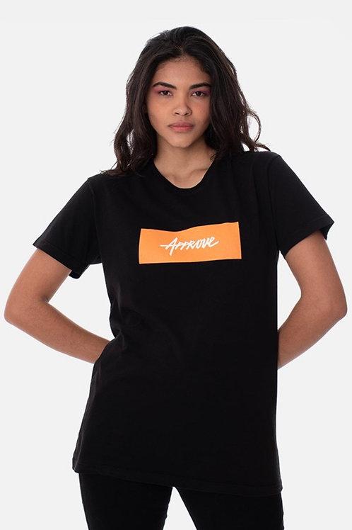 Camiseta Slim Approve Classic Preta e Laranja 220