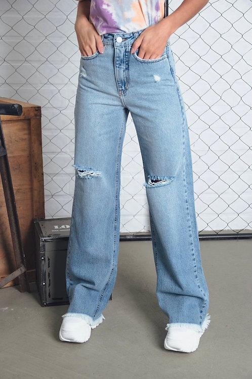 Calça Jeans Wide Leg Destroyed