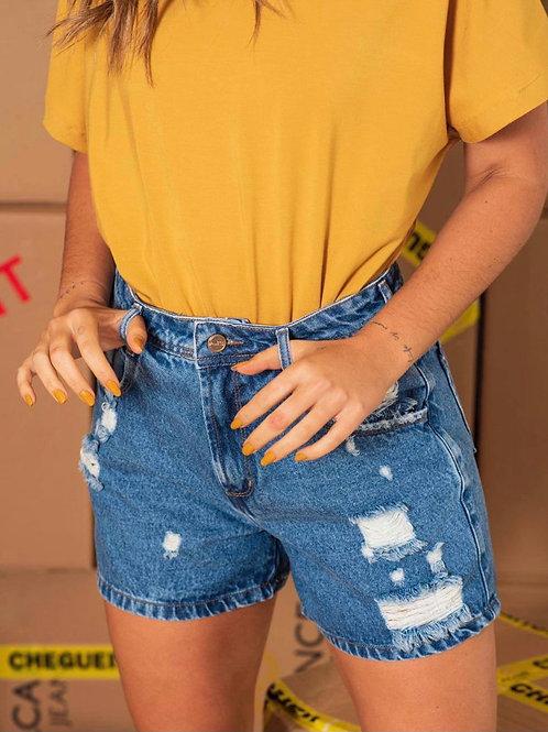 Shorts Jeans Mom Destroyed Lavagem Média 1398