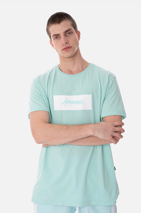 Camiseta Sliem Approve Classic Verde Água e Branca 219