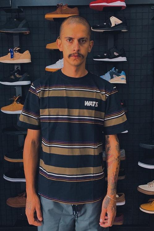 Camiseta Listras Wats Preto/Bege 146