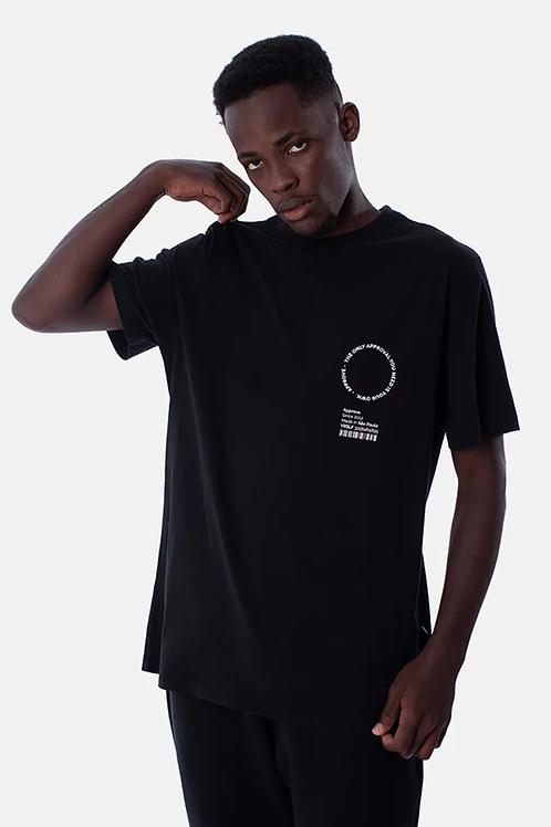 Camiseta preta logo redondo, Approve 1267