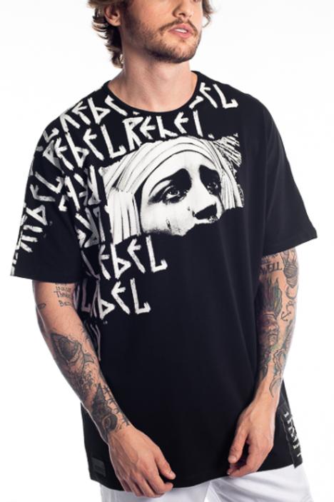 Camiseta Preta Long Rebel, Alltribe 1297