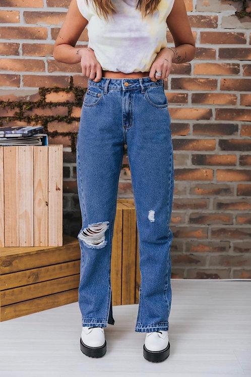 Calça Jeans Mom Recorte Barra 1689