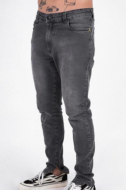 Calça Jeans Cinza Basic Zíper na barra 553