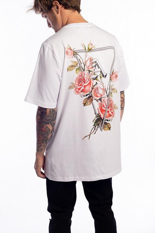 Camiseta Long Flores White 119