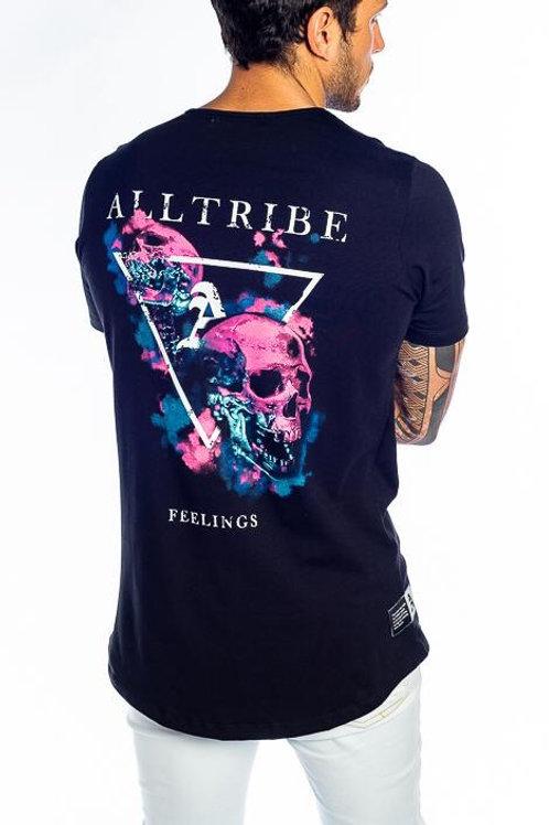 Camiseta Long Preta Caveira Pink 55