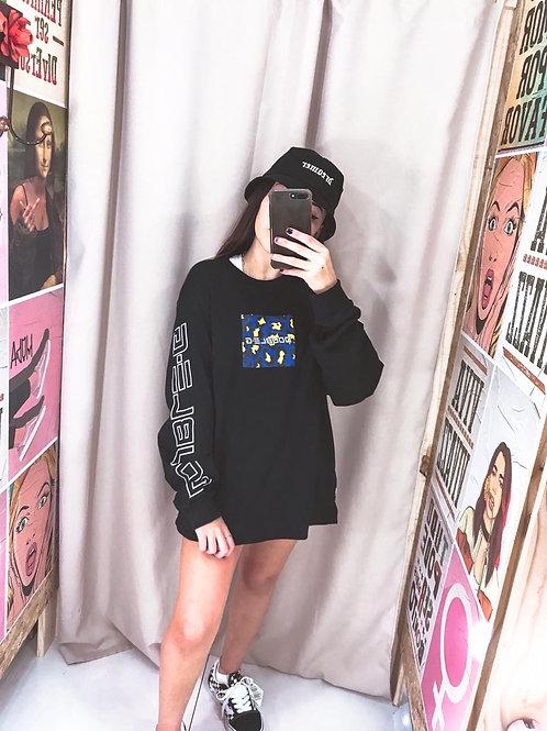Camiseta Manga Longa Preta Double-G Over 228