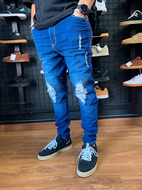 Calça Jeans Destroyed Escura Italia Zíper na Barra, Alltribe 1355