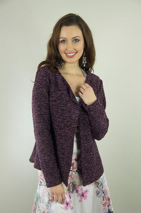 Dark Plum Knitted Short Jacket