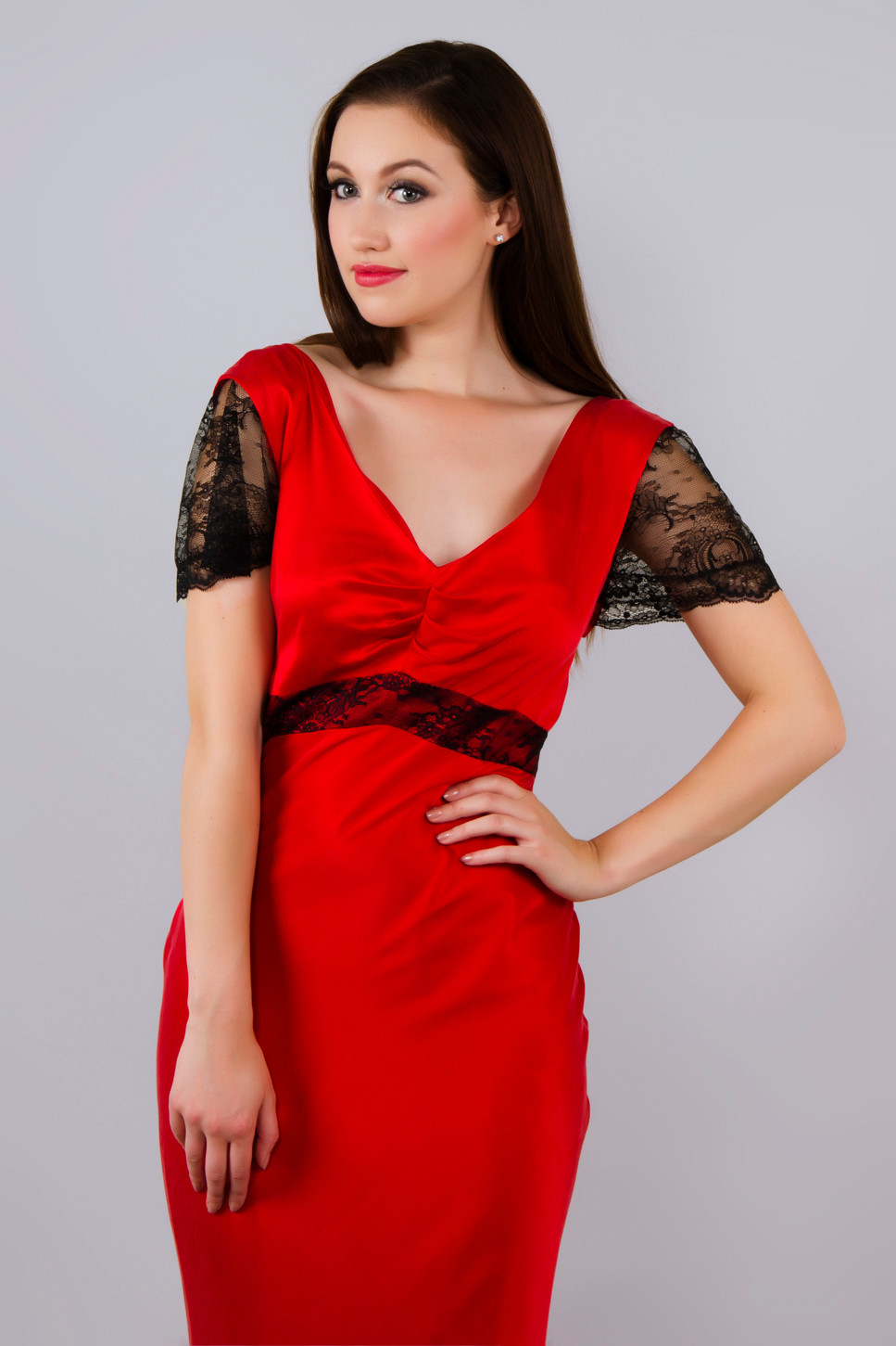 Red Silk and Black French Lace Occasion Dress