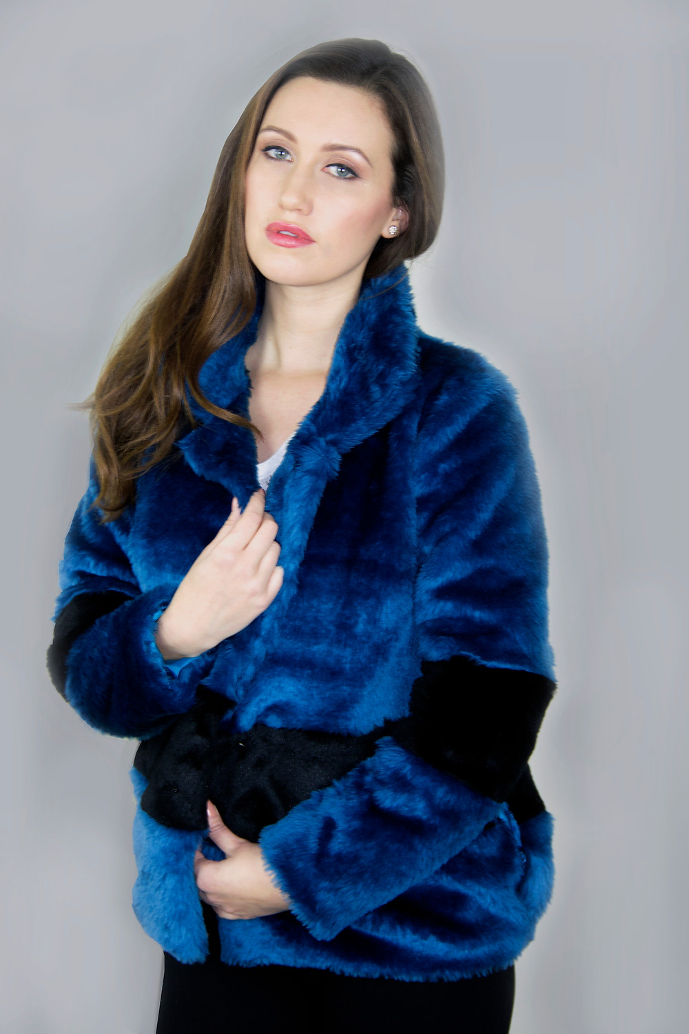Royal Blue and Black Faux Fur Jacket