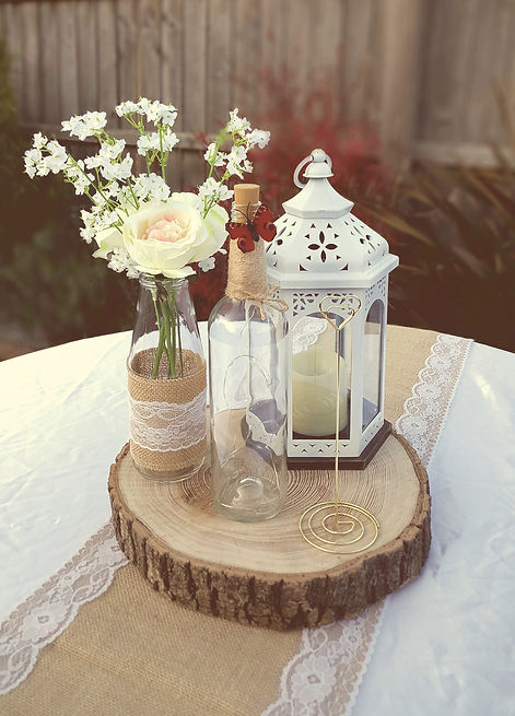 rustic table centerpieces for hire