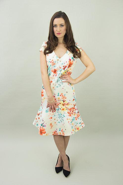 Flower Print Scuba Jersey Dress