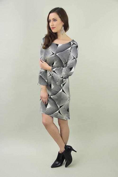 Monochrome Silk Jersey Dress