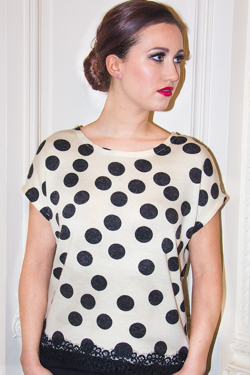 Polka Dot Top with Lace Hem Trimmings
