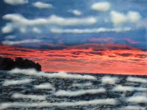 Sunset on ruff seas
