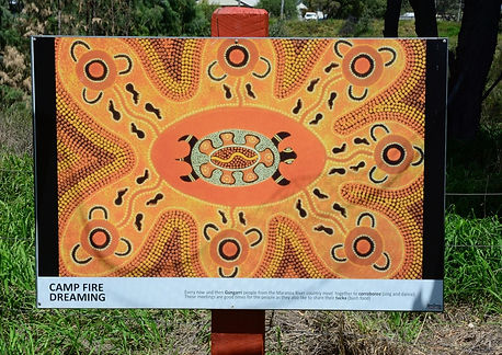 Camp fire dreaming sign at the Yumba, Mitchell