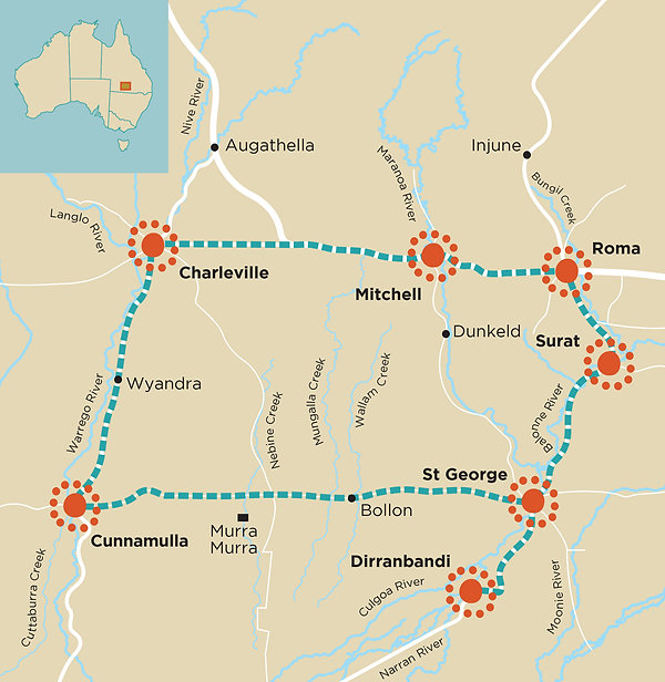 South West Queensland Indigenouns Cultural Trail Map