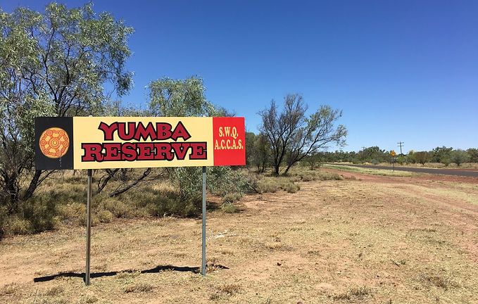 Sign at Bottom Camp (Yumba) in Cunnamulla