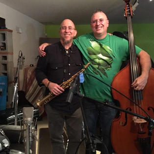My friend Jeff Coffin and me after tracking for my record.