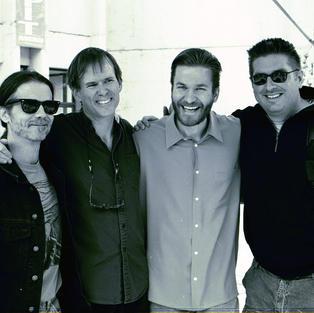 John R. Burr, Kendrick Freeman, Rob Ickes and myslef at Merle Fest 2001.