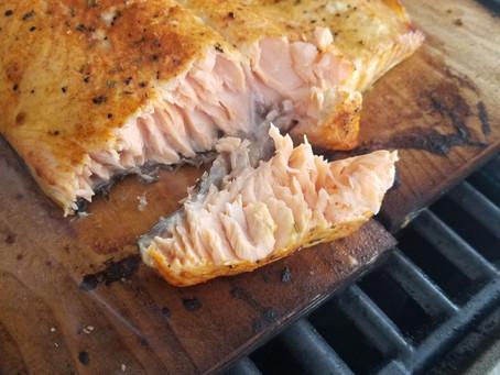 Salmon Grilled Over Cedar Planks