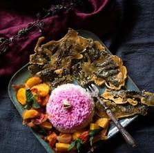 Tempura de kombu royal, sabzj de légumes, riz rose.