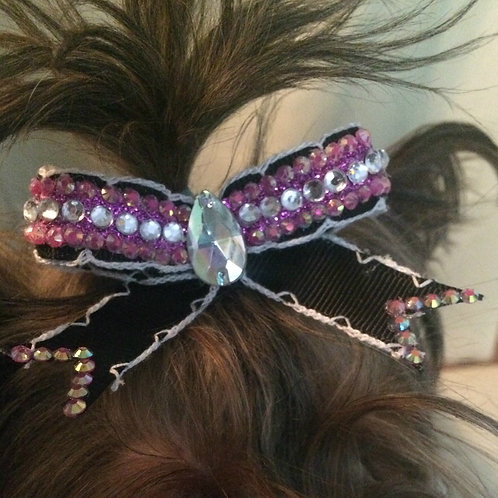 Pupz & Dazzle Hair Bow With Crystal Charm