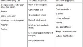 School Supply List for the 2021-2022 School Year