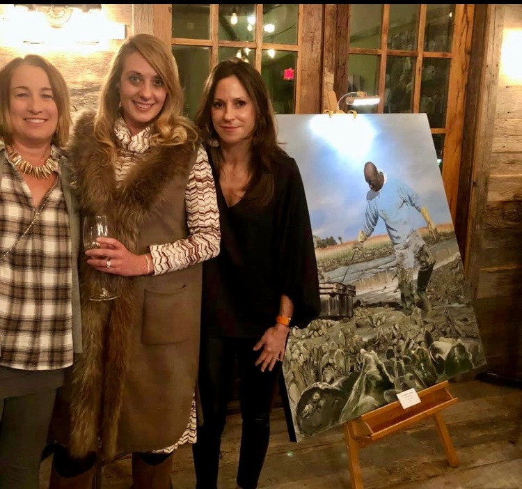 from left to right: Ansley Manuel, Andi  Boles, and Maneline director and hostess, Anna Sharp