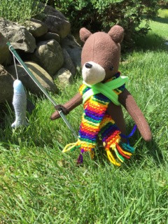 Barnaby the BEAR ready for his day of fsihing.