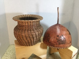 Mahkuh (Earth) Gourd art & Pine Needle basketry