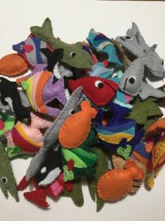 A school of Catnip fish Toys
