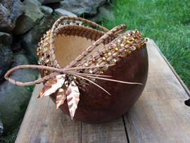 Abey (leaf) Gourd basketry with cooper leaves & beads