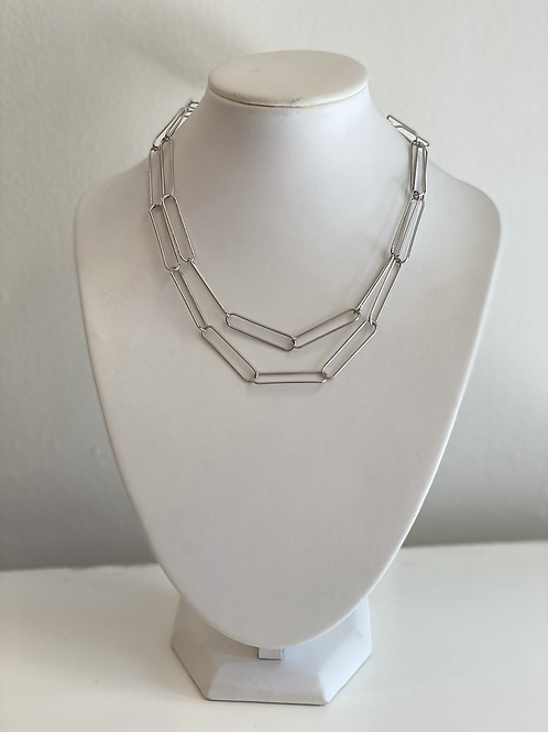 Double stacked Paperclip Chain Necklace