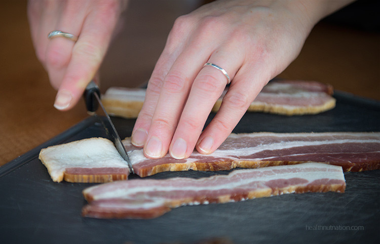 slice fat from bacon