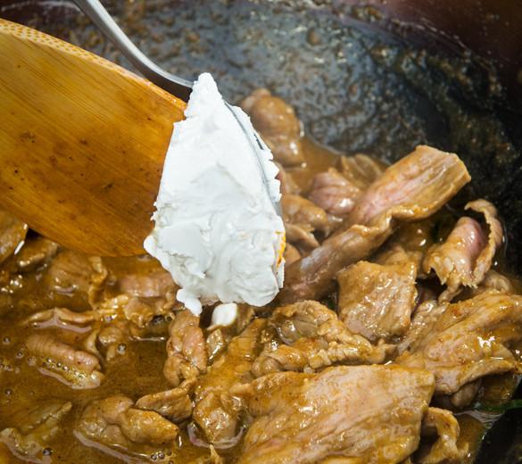 Coconut cream in beef panang recipe